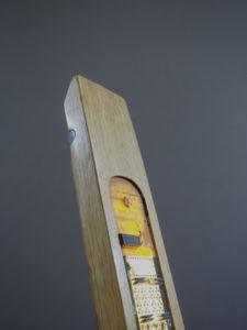 lampe sculpture bois acier